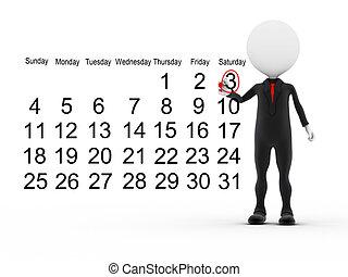 homme affaires, calendrier, programme occupé, 3d