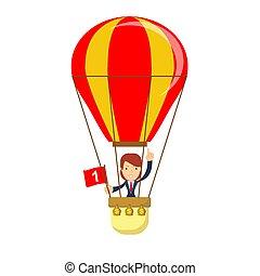 homme affaires, chaud, balloon, air