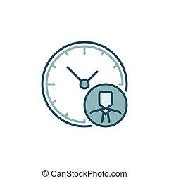 homme affaires, coloré, travail, horloge, signe, -, temps, icône
