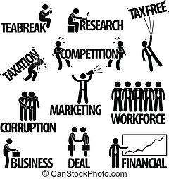 homme affaires, concept, business, texte