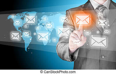 homme affaires, concept, email