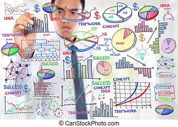 homme affaires, concept, moderne, dessin, business