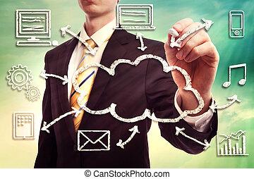 homme affaires, concept, nuage, calculer