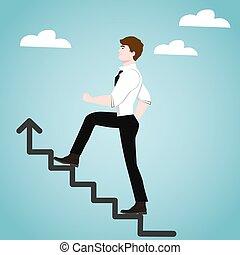 homme affaires, concept, reussite, escaliers.