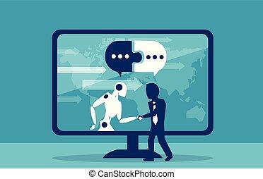 homme affaires, concept, robot, humain, coopération