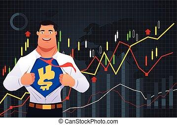 homme affaires, concept, superhero, finance