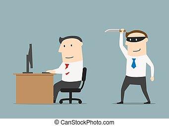 homme affaires, concurrent, cafards, couteau