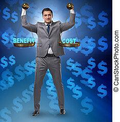 homme affaires, cout, équilibre, concept, bénéfice