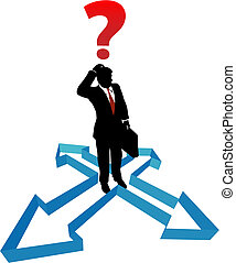 homme affaires, direction, flèches, indécision, question