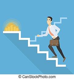 homme affaires, escaliers.