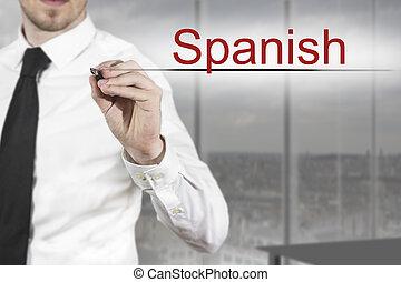 homme affaires, espagnol, écriture, air