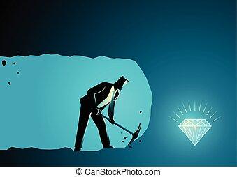 homme affaires, exploitation minière, trésor, trouver, creuser