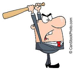 homme affaires, fâché, batte base-ball