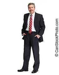 homme affaires, fond blanc