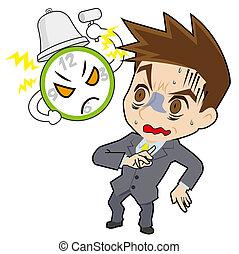 homme affaires, horloge