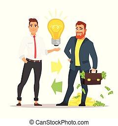 homme affaires, idée, offrande