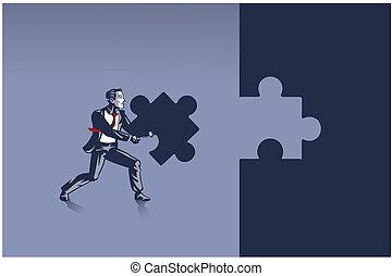 homme affaires, il, correctement, porter, prêt, puzzle, endroit, concept, illustration, morceau puzzle