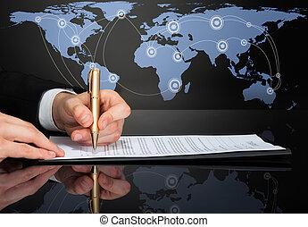 homme affaires, image, contrat signant, tondu