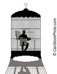 homme affaires, informatique, mettez cage oiseau, fonctionnement