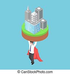 homme affaires, isométrique, porter, business, bâtiment.