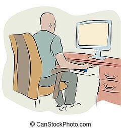 homme affaires, ligne, informatique, dessin, fonctionnement