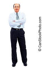 homme affaires, longueur, entiers, isolé, blanc
