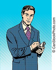 homme affaires, mâle, cahier