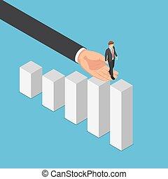 homme affaires, main aidant, graphique, business, atteindre, sommet, grand, isométrique