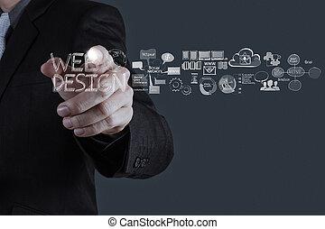 homme affaires, main, fonctionnement, diagramme, conception toile, concept