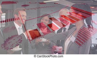homme affaires, mains secouer, numérique, femme affaires, interface, contre, coronavirus