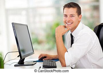 homme affaires, moderne, bureau, séance