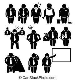 homme affaires, ouvrier, graisse, homme affaires