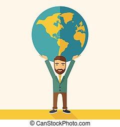 homme affaires, porter, globe., grand