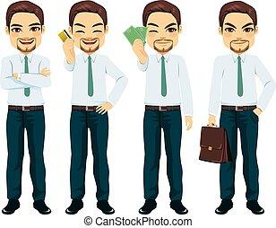 homme affaires, poses, caractère