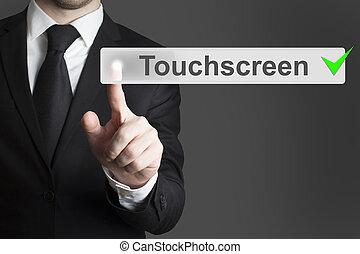 homme affaires, poussée bouton, touchscreen