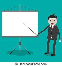 homme affaires, projecteur, screen.