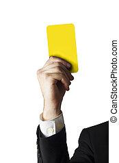 homme affaires, projection, carte jaune