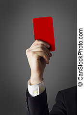 homme affaires, projection, carte rouge