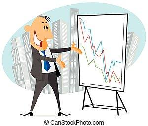 homme affaires, projection, graphique