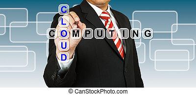 homme affaires, rédaction, nuage, calculer