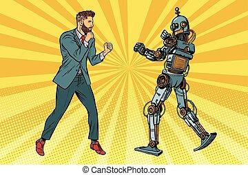 homme affaires, robot, combat