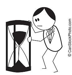 homme affaires, sable, horloge