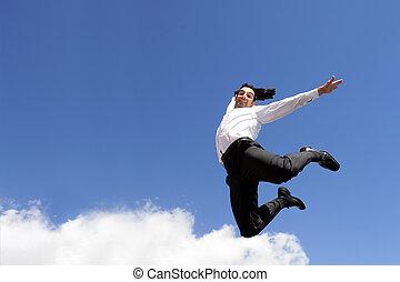 homme affaires, sauter, air