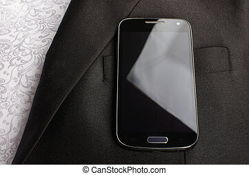homme affaires, smartphone, complet