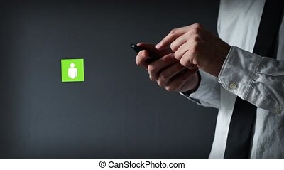 homme affaires, smartphone., utilisation