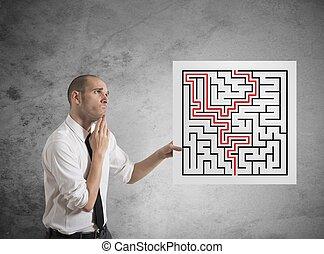homme affaires, solutions, labyrinthe