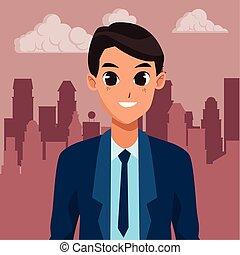 homme affaires, sourire, cadre, ouvrier, dessin animé