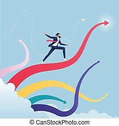 homme affaires, surfer, croissance, ascendant, concept, flèche, waves-business