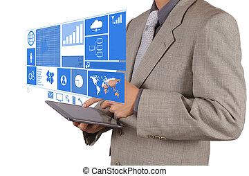 homme affaires, technologie moderne, fonctionnement, main