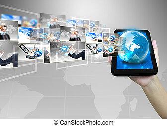 homme affaires, .technology, concept, tenue, mondiale